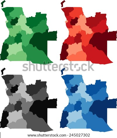 Highly Detailed Angola political map in four different color. Isolated, editable. - stock vector