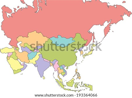 Highly Detailed Asia Political Map. - stock vector