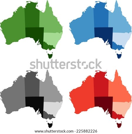 Highly Detailed Australia political map in four different color. - stock vector