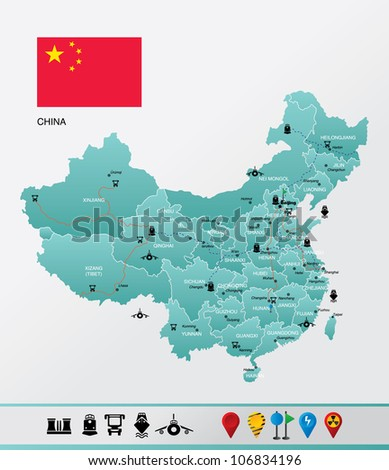 Highly detailed China map Vector of highly detailed China map with all regions, cities, roads, navigation and travel icons. - stock vector