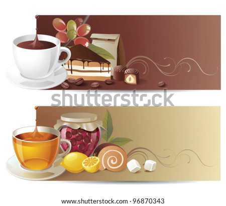 highly detailed coffee and tea banners - eps 10 - stock vector