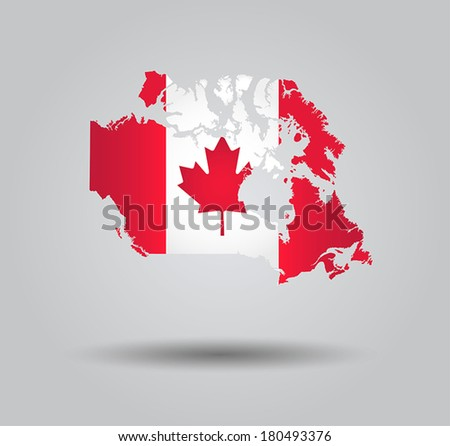 Highly Detailed Country Silhouette With Flag and 3d effect - Canada - stock vector