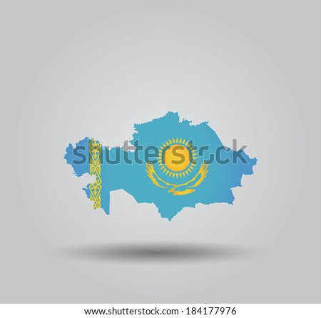 Highly Detailed Country Silhouette With Flag and 3D effect - Kazakhstan - stock vector