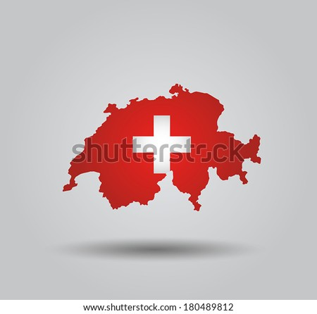 Highly Detailed Country Silhouette With Flag and 3D effect - Switzerland