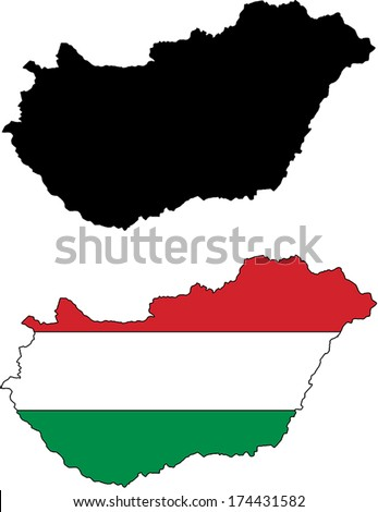 Highly Detailed Country Silhouette With Flag - Hungary