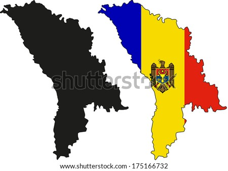 Highly Detailed Country Silhouette With Flag - Moldova