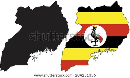 Highly Detailed Country Silhouette With Flag - Uganda - stock vector