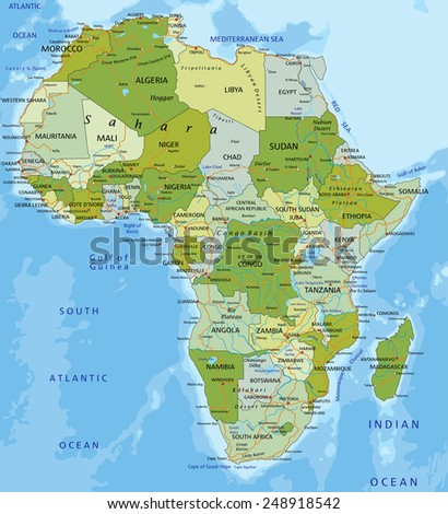 Highly detailed editable political map with separated layers. Africa. - stock vector