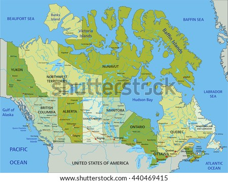 Highly Detailed Editable Political Map Separated Stock Vector