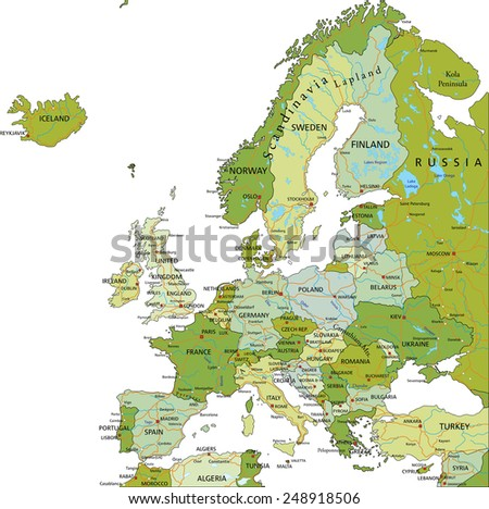 Highly detailed editable political map with separated layers. Europe. - stock vector