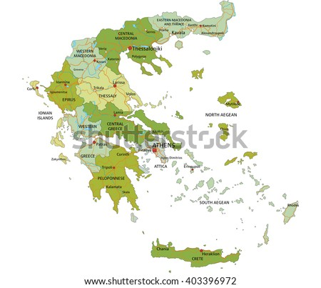 Highly detailed editable political map with separated layers. Greece. - stock vector