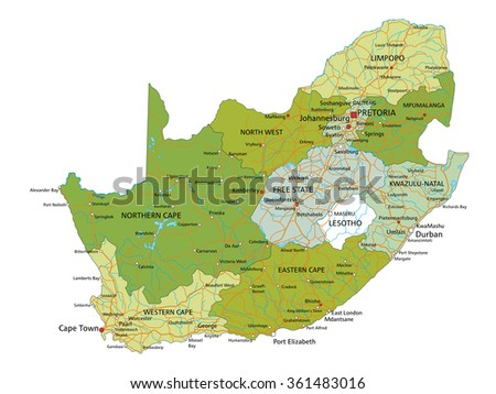 Colorful South Africa Political Map Clearly Stock Vector - South africa political map