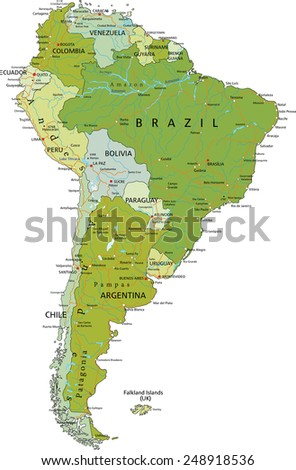 Highly detailed editable political map with separated layers. South America. - stock vector