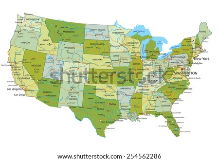 Highly detailed editable political map with separated layers. United States of America. - stock vector