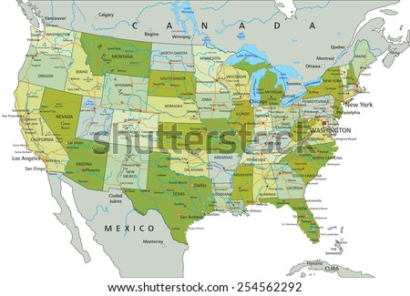 High Detailed United States America Road Stock Vector 254562232