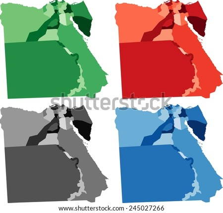 Highly Detailed Egypt political map in four different color. Isolated, editable. - stock vector