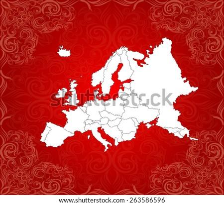 Highly Detailed Europe Map with Background - Vector Illustration - stock vector