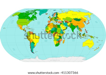 Highly detailed geopolitical World map. Vector illustration.