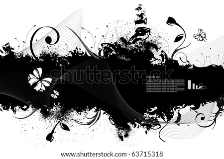 Highly detailed grunge floral vector frame  and background  with space for your text or image. - stock vector