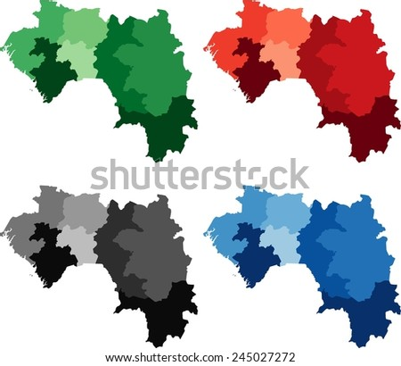 Highly Detailed Guinea political map in four different color. Isolated, editable.