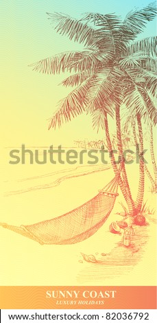 Highly detailed hand drawn illustration of a palm tree and hammock. - stock vector