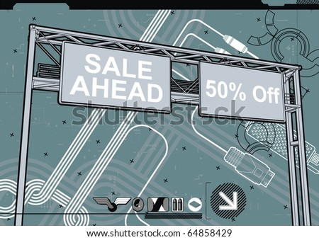 Highly detailed, high quality design template of a large billboard sign featuring ??SALE? text. - stock vector