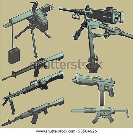 Highly detailed, high-quality vector selection of weapons grade military hardware. - stock vector