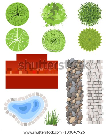 Highly detailed landscape design elements - easy to make your own plan! EPS 10 - stock vector