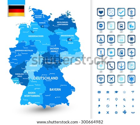 Highly Detailed Map Germany Administrative Divisions Stock Vector