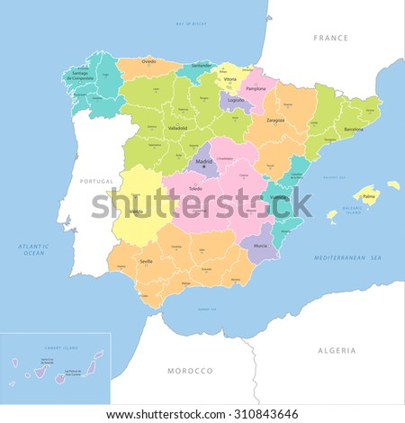 Highly detailed map of Spanish regions, vector.