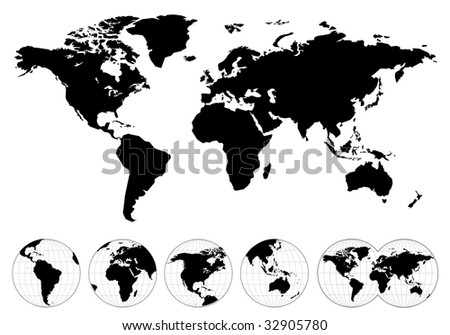 Highly detailed map of the world - stock vector