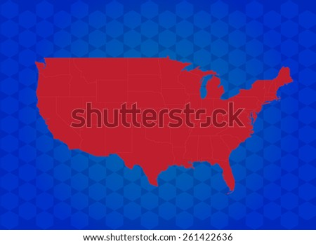 Highly Detailed Map of USA with Background - Vector Illustration  - stock vector