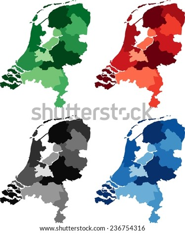 Highly Detailed Netherlands political map in four different color. Isolated, editable. - stock vector