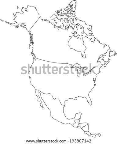Highly Detailed North America Blind Map. - stock vector