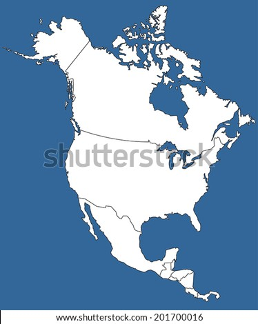 Highly Detailed North America Silhouette with borders, vector illustration. White&Blue. - stock vector
