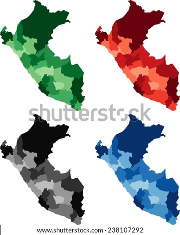 Highly Detailed Peru political map in four different color. Isolated, editable. - stock vector
