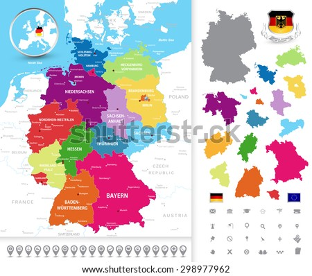Highly Detailed Political Map Germany Administrative Stock Vector