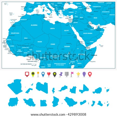 Highly detailed political map northern africa stock vector 429893008 highly detailed political map of northern africa and the middle east with its states and flat gumiabroncs Images