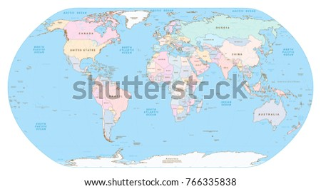Highly detailed political world map all stock vector 766335838 highly detailed political world map all elements are separated in editable group clearly labeled gumiabroncs Choice Image