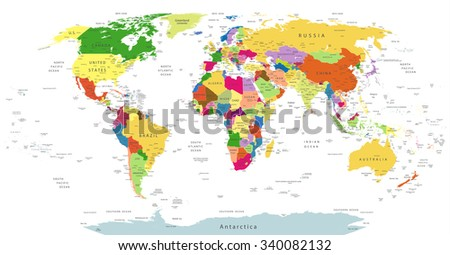 Highly Detailed Political World Map Isolated On White.All elements are separated in editable layers clearly labeled.