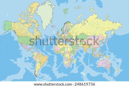 Highly detailed political World map. Vector illustration. - stock vector