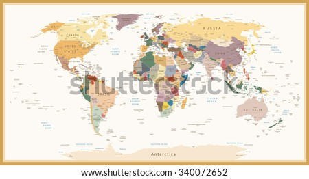 Highly detailed political World Map Vintage Colors.All elements are separated in editable layers clearly labeled.