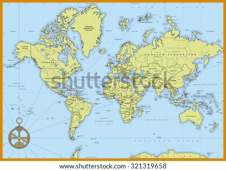 Highly Detailed Political World Map With Capitals, Rivers, Separated  Layers. Vector Illustration.