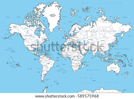 Highly detailed political world map capitals stock photo photo highly detailed political world map with capitals rivers separated layers vector illustration gumiabroncs Choice Image