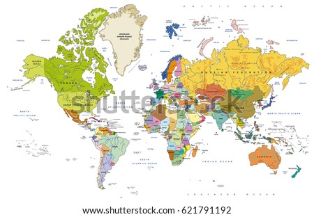 Highly Detailed Political World Map Capitals Stock Vector - World map with capitals