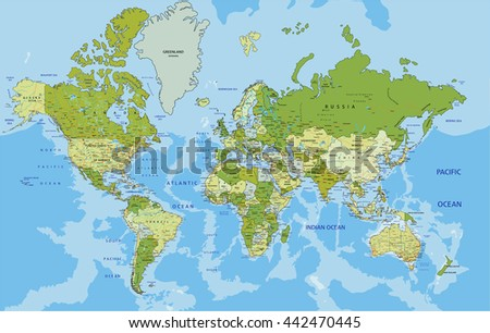 Highly detailed political world map labeling stock vector 442470445 highly detailed political world map labeling stock vector 442470445 shutterstock gumiabroncs Image collections
