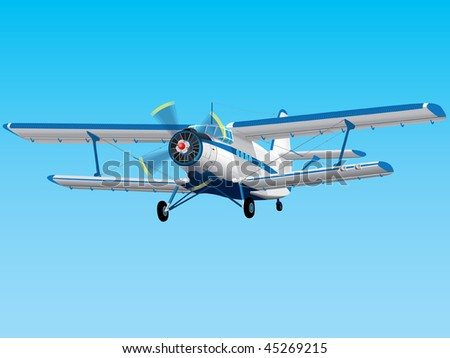 Highly detailed propeller biplane - EPS10 file - stock vector