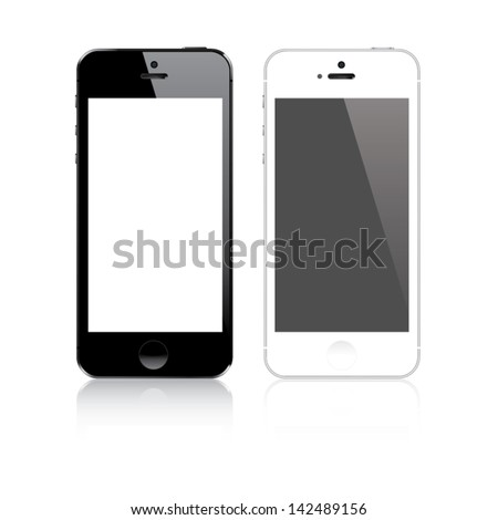 Highly detailed responsive smart phone mockup vector - stock vector