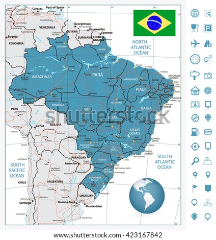 Highly Detailed Road Map Brazil Rivers Stock Vector HD Royalty Free