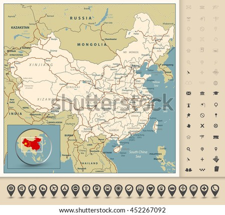 Highly detailed road map of China with roads, railroads, rivers and navigaion icons. All elements are separated in editable layers clearly labeled. - stock vector